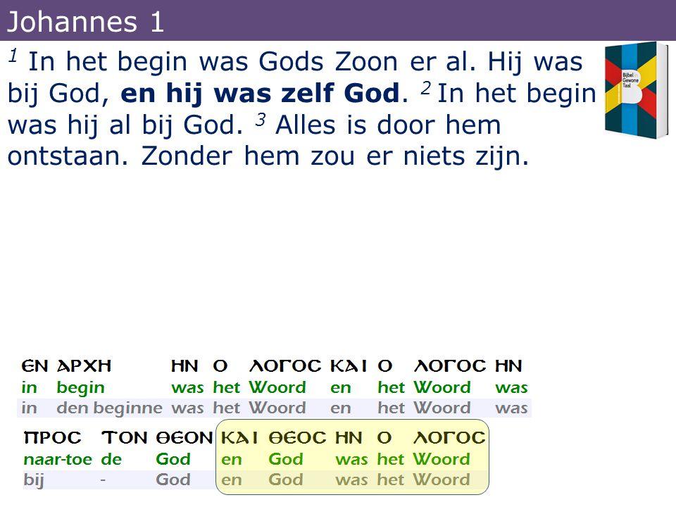1 In het begin was Gods Zoon er al. Hij was bij God, en hij was zelf God. 2 In het begin was hij al bij God. 3 Alles is door hem ontstaan. Zonder hem