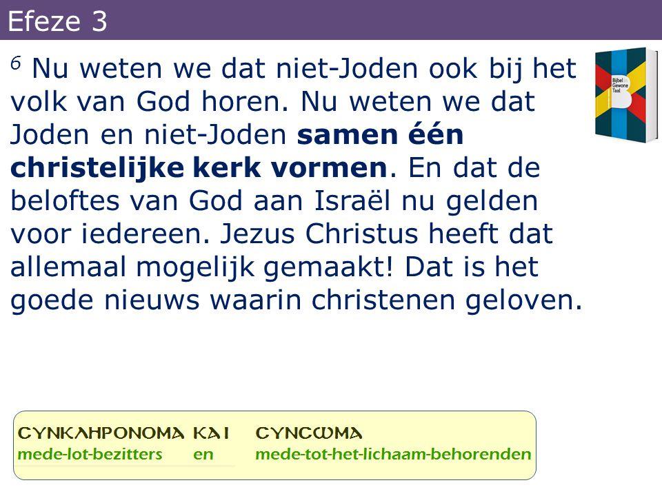 6 Nu weten we dat niet-Joden ook bij het volk van God horen. Nu weten we dat Joden en niet-Joden samen één christelijke kerk vormen. En dat de belofte