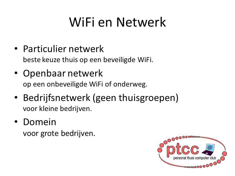 WiFi en Netwerk Particulier netwerk beste keuze thuis op een beveiligde WiFi. Openbaar netwerk op een onbeveiligde WiFi of onderweg. Bedrijfsnetwerk (