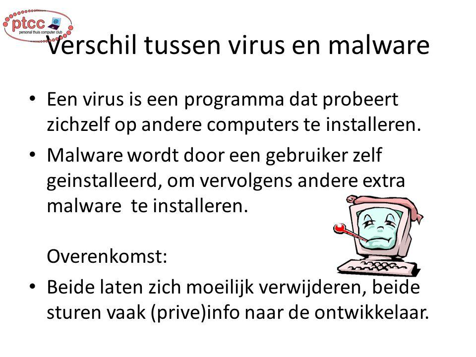 Verschil tussen virus en malware Een virus is een programma dat probeert zichzelf op andere computers te installeren. Malware wordt door een gebruiker