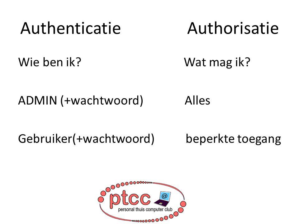 Authenticatie Authorisatie Wie ben ik? Wat mag ik? ADMIN (+wachtwoord) Alles Gebruiker(+wachtwoord) beperkte toegang