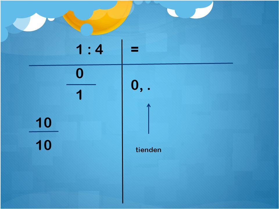 1 : 4= 0 10 0, 2 1 tienden = 10 8 2