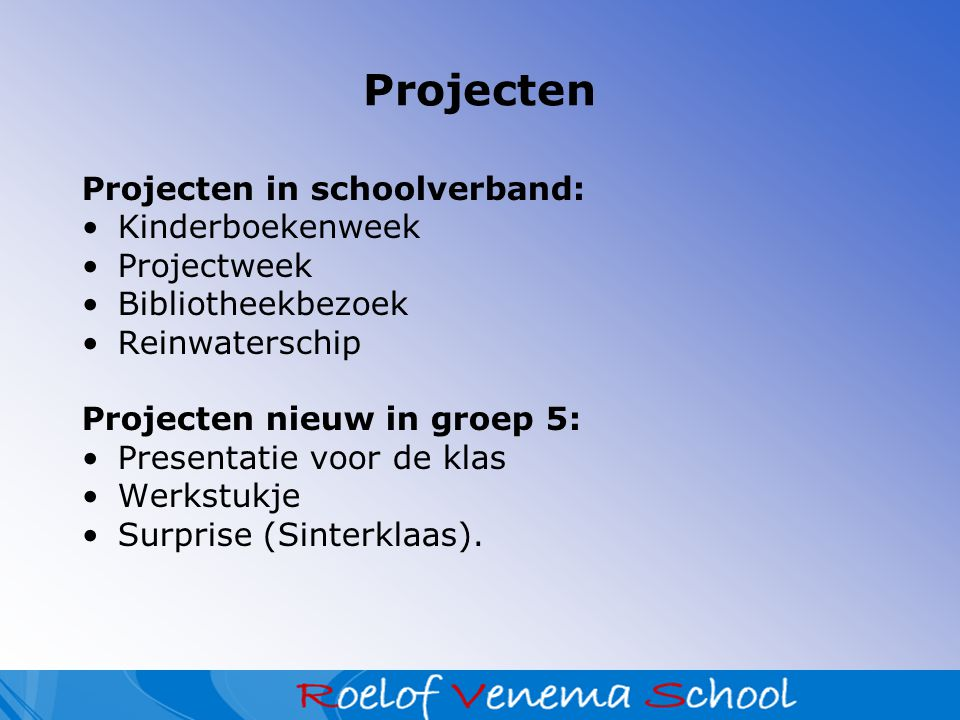 Algemene informatie Website school; Luizencontrole; Pauzehapje + lunch (graag gezond!); Maandagochtend spaarpotje; 10 minutengesprekken n.a.v.