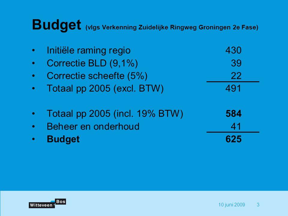10 juni 20093 Budget (vlgs Verkenning Zuidelijke Ringweg Groningen 2e Fase) Initiële raming regio430 Correctie BLD (9,1%)39 Correctie scheefte (5%)22 Totaal pp 2005 (excl.