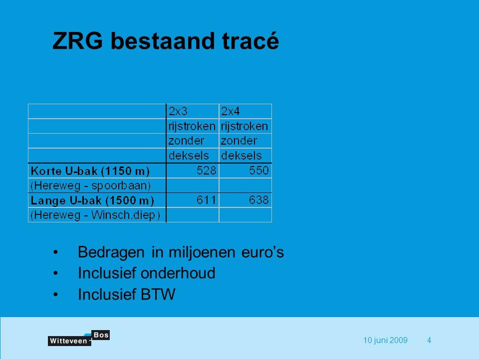 10 juni 20094 ZRG bestaand tracé Bedragen in miljoenen euro's Inclusief onderhoud Inclusief BTW
