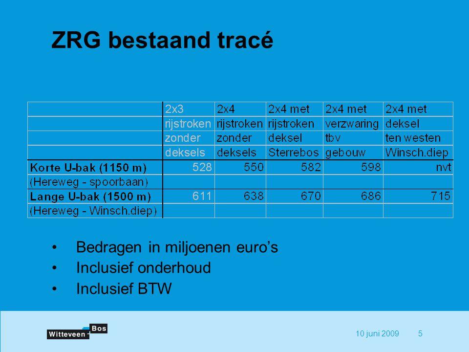 10 juni 20095 ZRG bestaand tracé Bedragen in miljoenen euro's Inclusief onderhoud Inclusief BTW