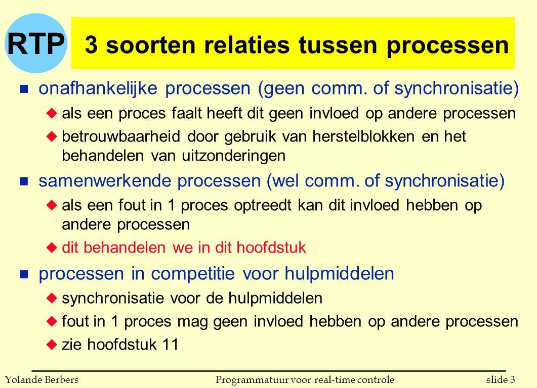 RTP slide 14Programmatuur voor real-time controleYolande Berbers atomaire acties in Ada procedure Code_For_First_Task (-- params) is begin Action_Controller.First; -- eerst worden de nodige hulpmiddelen aangevraagd -- en daarna wordt de actie zelf uitgevoerd Action_Controller.Finished; -- nu kunnen de hulpmiddelen vrij gegeven worden end Code_For_First_Task; -- analoog voor tweede en voor derde taak begin -- initalisaties die nodig zijn end Action_X ;