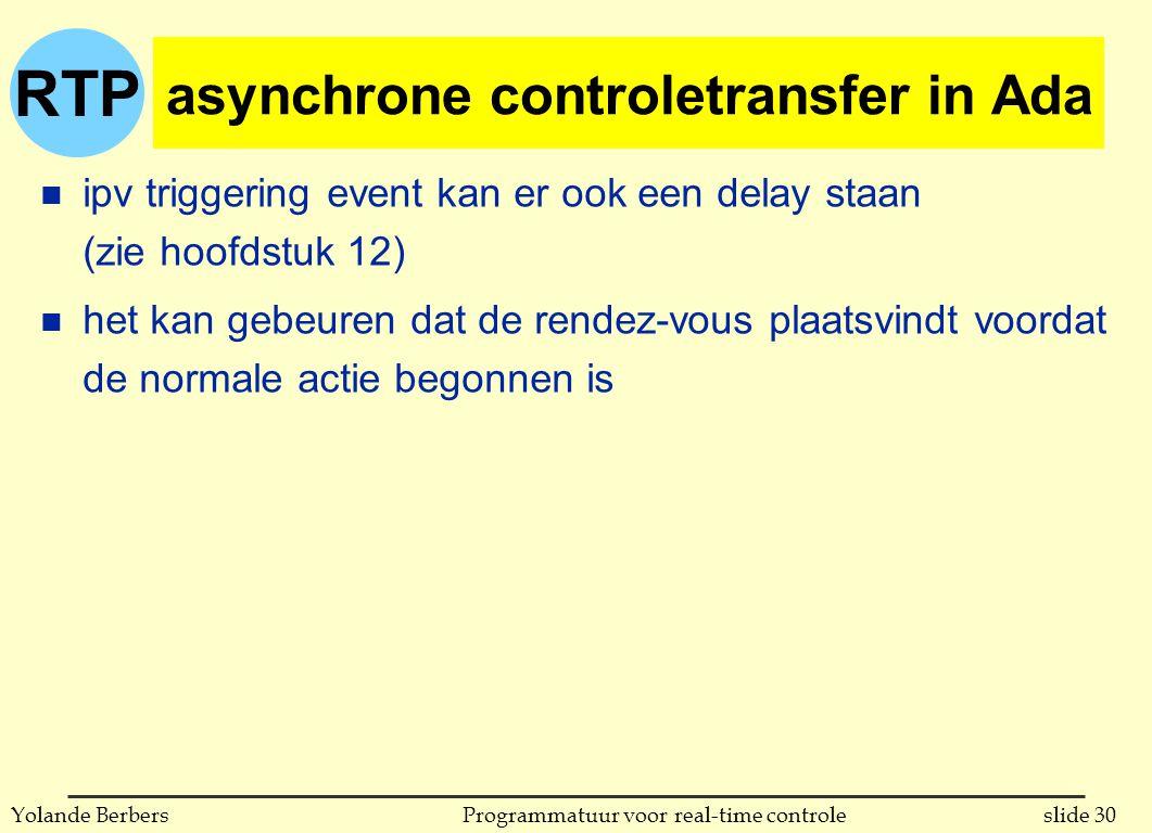 RTP slide 30Programmatuur voor real-time controleYolande Berbers asynchrone controletransfer in Ada n ipv triggering event kan er ook een delay staan (zie hoofdstuk 12) n het kan gebeuren dat de rendez-vous plaatsvindt voordat de normale actie begonnen is
