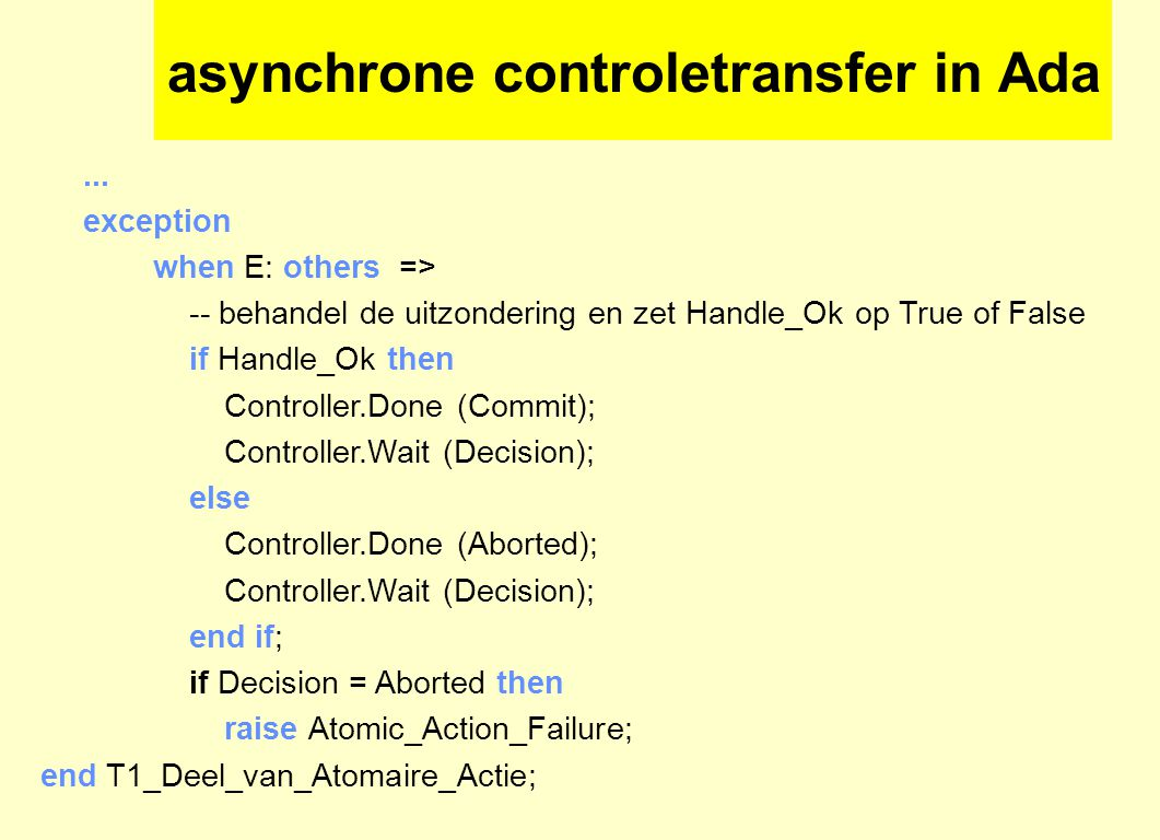 asynchrone controletransfer in Ada...