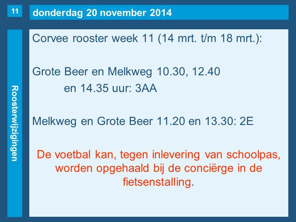 donderdag 20 november 2014 Roosterwijzigingen Corvee rooster week 11 (14 mrt. t/m 18 mrt.): Grote Beer en Melkweg 10.30, 12.40 en 14.35 uur: 3AA Melkw