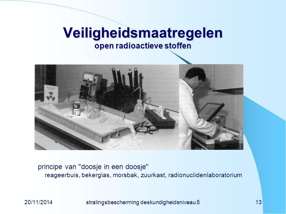 20/11/2014stralingsbescherming deskundigheidsniveau 513 Veiligheidsmaatregelen open radioactieve stoffen principe van