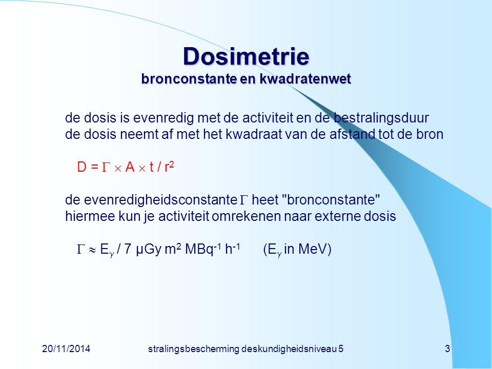 20/11/2014stralingsbescherming deskundigheidsniveau 53 Dosimetrie bronconstante en kwadratenwet de dosis is evenredig met de activiteit en de bestrali