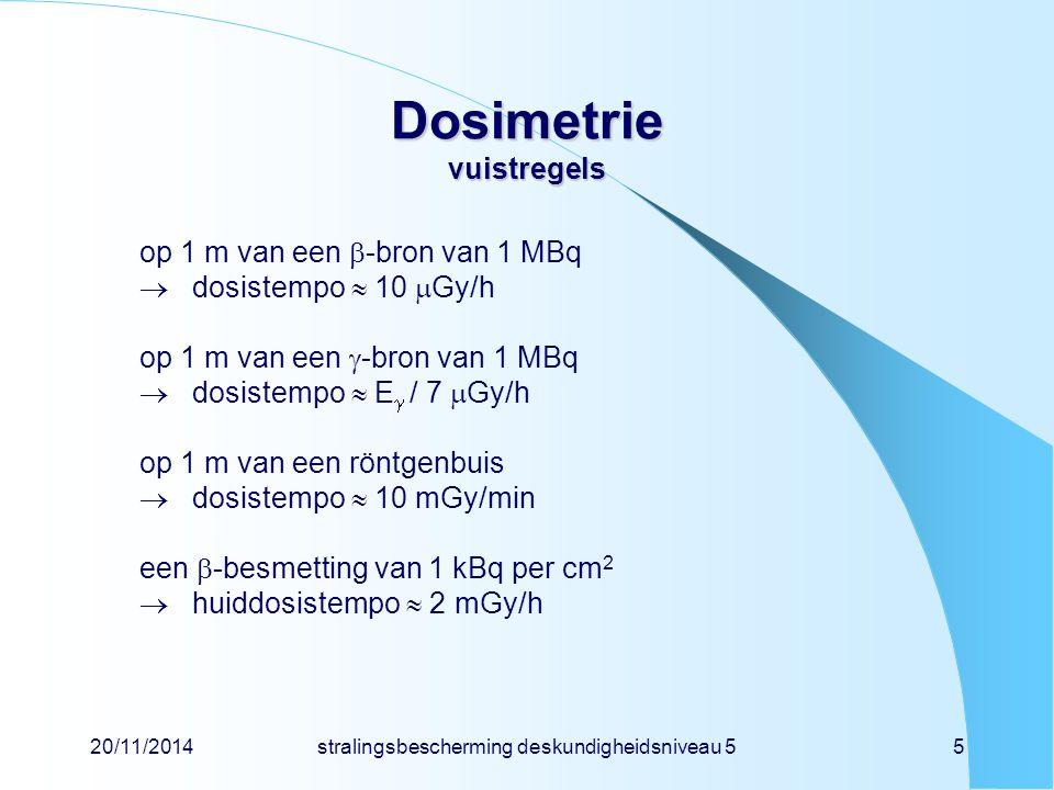 20/11/2014stralingsbescherming deskundigheidsniveau 55 Dosimetrie vuistregels op 1 m van een  -bron van 1 MBq  dosistempo  10  Gy/h op 1 m van een