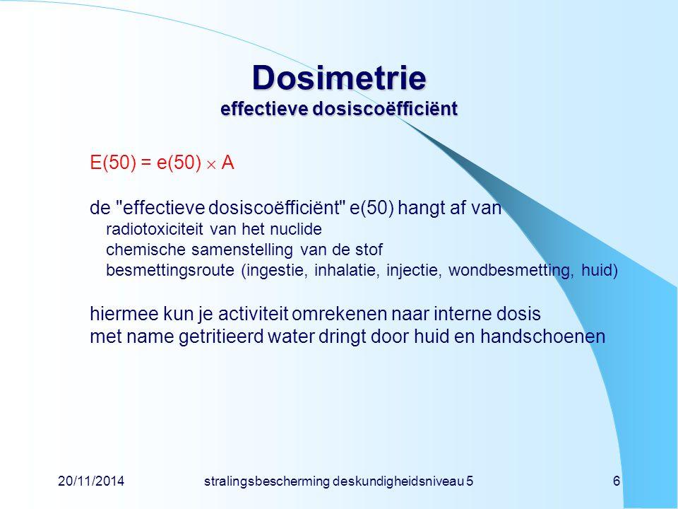 20/11/2014stralingsbescherming deskundigheidsniveau 56 Dosimetrie effectieve dosiscoëfficiënt E(50) = e(50)  A de