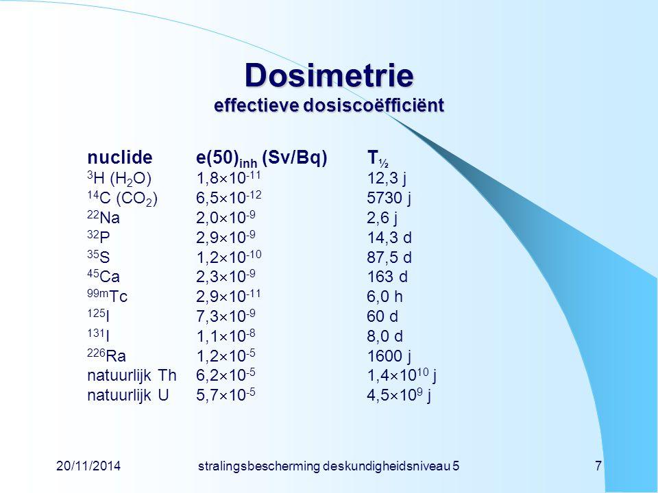 20/11/2014stralingsbescherming deskundigheidsniveau 57 Dosimetrie effectieve dosiscoëfficiënt nuclidee(50) inh (Sv/Bq)T ½ 3 H (H 2 O)1,8  10 -11 12,3