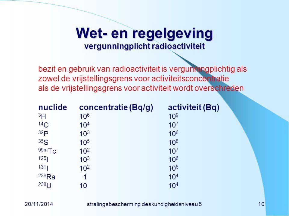 20/11/2014stralingsbescherming deskundigheidsniveau 510 Wet- en regelgeving vergunningplicht radioactiviteit bezit en gebruik van radioactiviteit is v
