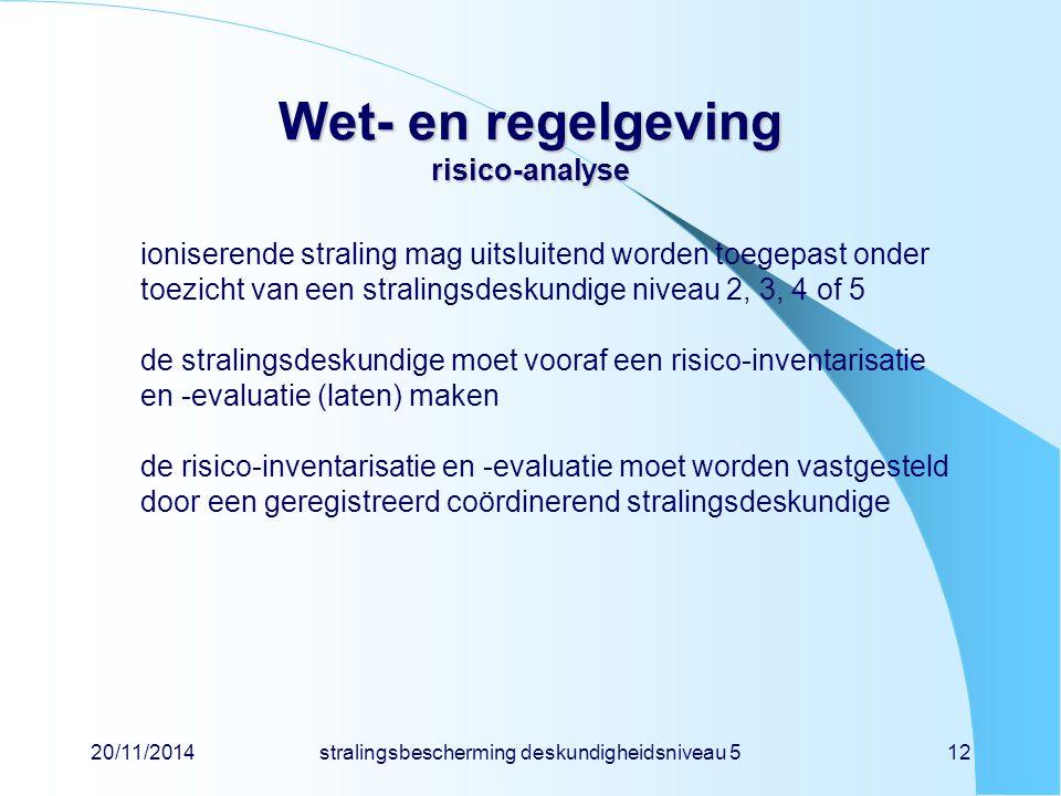 20/11/2014stralingsbescherming deskundigheidsniveau 512 Wet- en regelgeving risico-analyse ioniserende straling mag uitsluitend worden toegepast onder