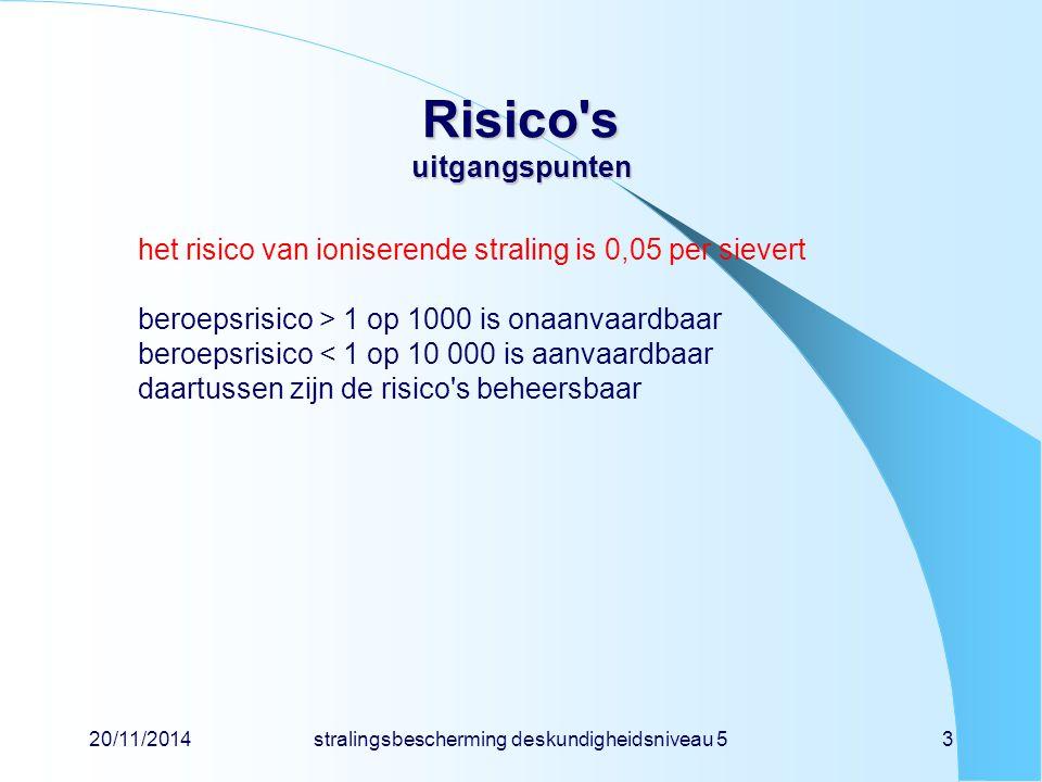 20/11/2014stralingsbescherming deskundigheidsniveau 53 Risico's uitgangspunten het risico van ioniserende straling is 0,05 per sievert beroepsrisico >