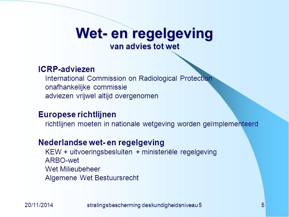 20/11/2014stralingsbescherming deskundigheidsniveau 55 Wet- en regelgeving van advies tot wet ICRP-adviezen International Commission on Radiological P