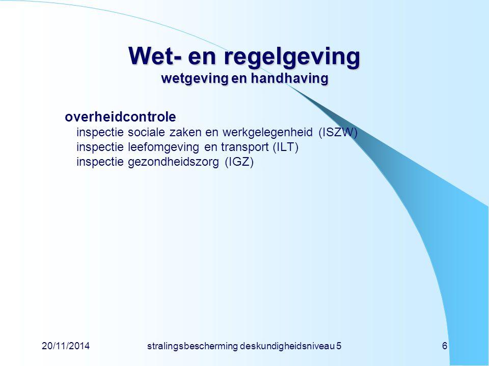 20/11/2014stralingsbescherming deskundigheidsniveau 56 Wet- en regelgeving wetgeving en handhaving overheidcontrole inspectie sociale zaken en werkgel