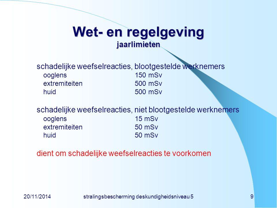 20/11/2014stralingsbescherming deskundigheidsniveau 59 Wet- en regelgeving jaarlimieten schadelijke weefselreacties, blootgestelde werknemers ooglens1