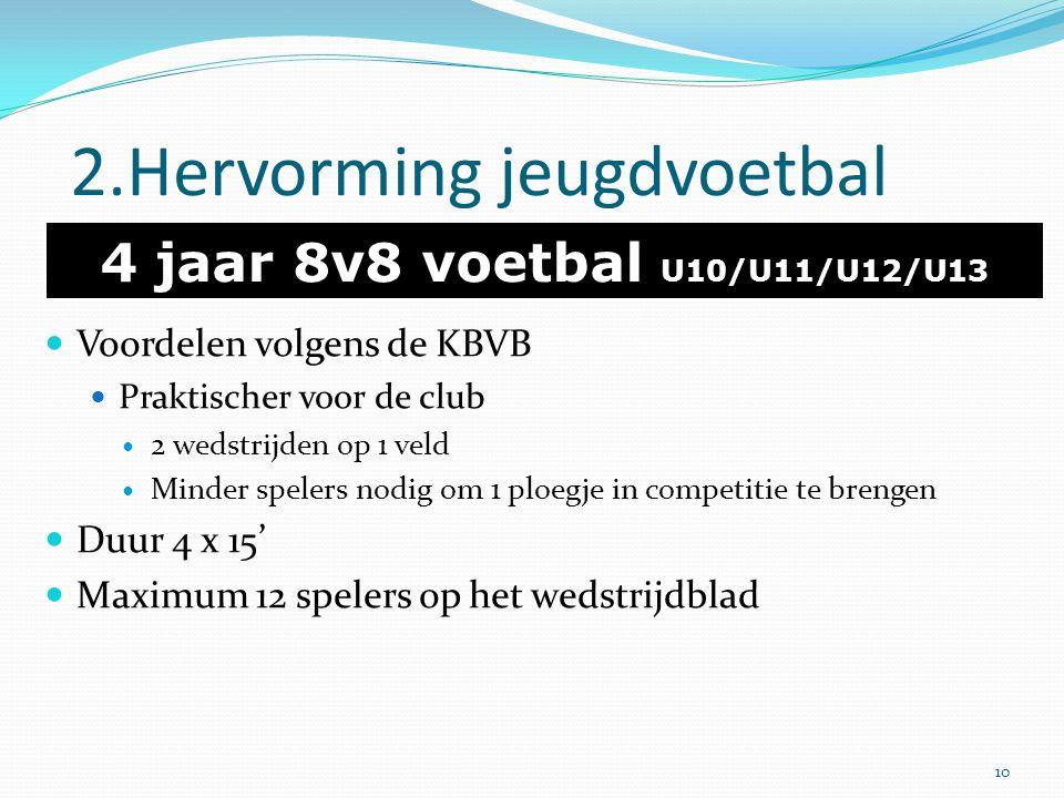 2.Hervorming jeugdvoetbal 4 jaar 8v8 voetbal U10/U11/U12/U13 Voordelen volgens de KBVB Praktischer voor de club 2 wedstrijden op 1 veld Minder spelers