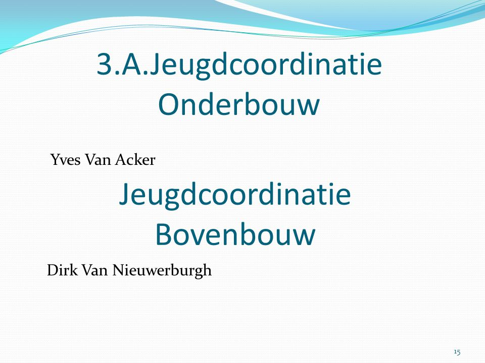 3.A.Jeugdcoordinatie Onderbouw Yves Van Acker Jeugdcoordinatie Bovenbouw Dirk Van Nieuwerburgh 15