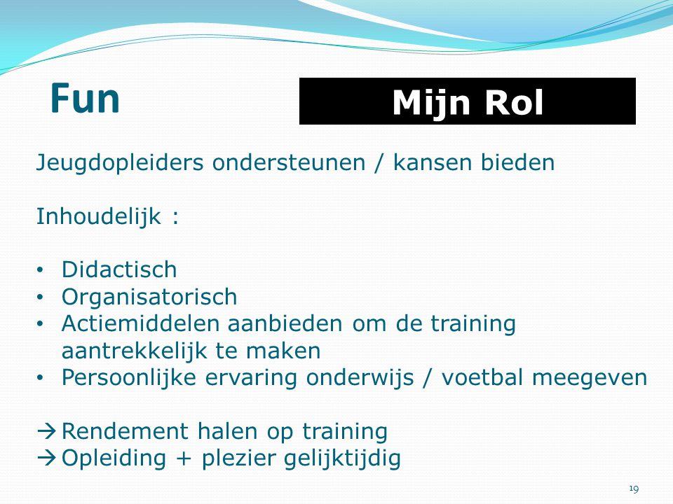 Fun Mijn Rol Jeugdopleiders ondersteunen / kansen bieden Inhoudelijk : Didactisch Organisatorisch Actiemiddelen aanbieden om de training aantrekkelijk