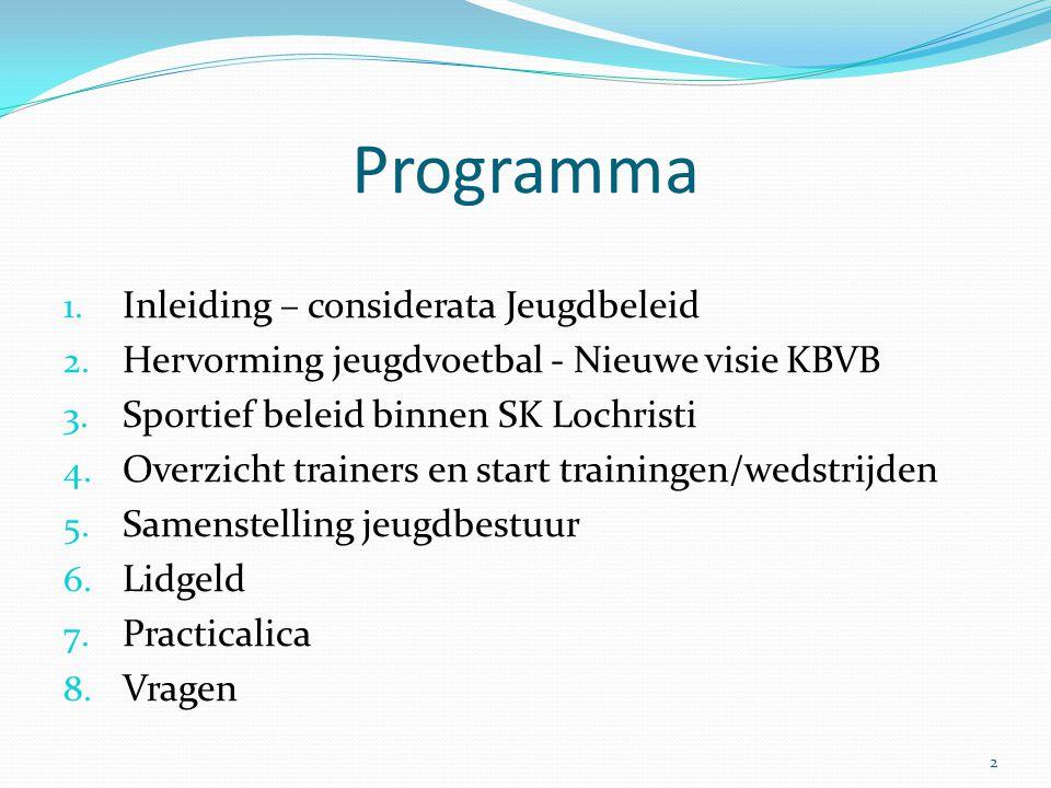 Programma 1. Inleiding – considerata Jeugdbeleid 2. Hervorming jeugdvoetbal - Nieuwe visie KBVB 3. Sportief beleid binnen SK Lochristi 4. Overzicht tr