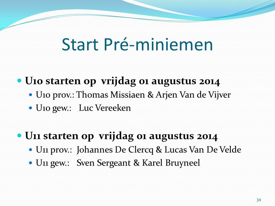 Start Pré-miniemen U10 starten op vrijdag 01 augustus 2014 U10 prov.: Thomas Missiaen & Arjen Van de Vijver U10 gew.: Luc Vereeken U11 starten op vrij