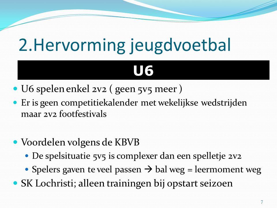 2.Hervorming jeugdvoetbal U6 U6 spelen enkel 2v2 ( geen 5v5 meer ) Er is geen competitiekalender met wekelijkse wedstrijden maar 2v2 footfestivals Voo