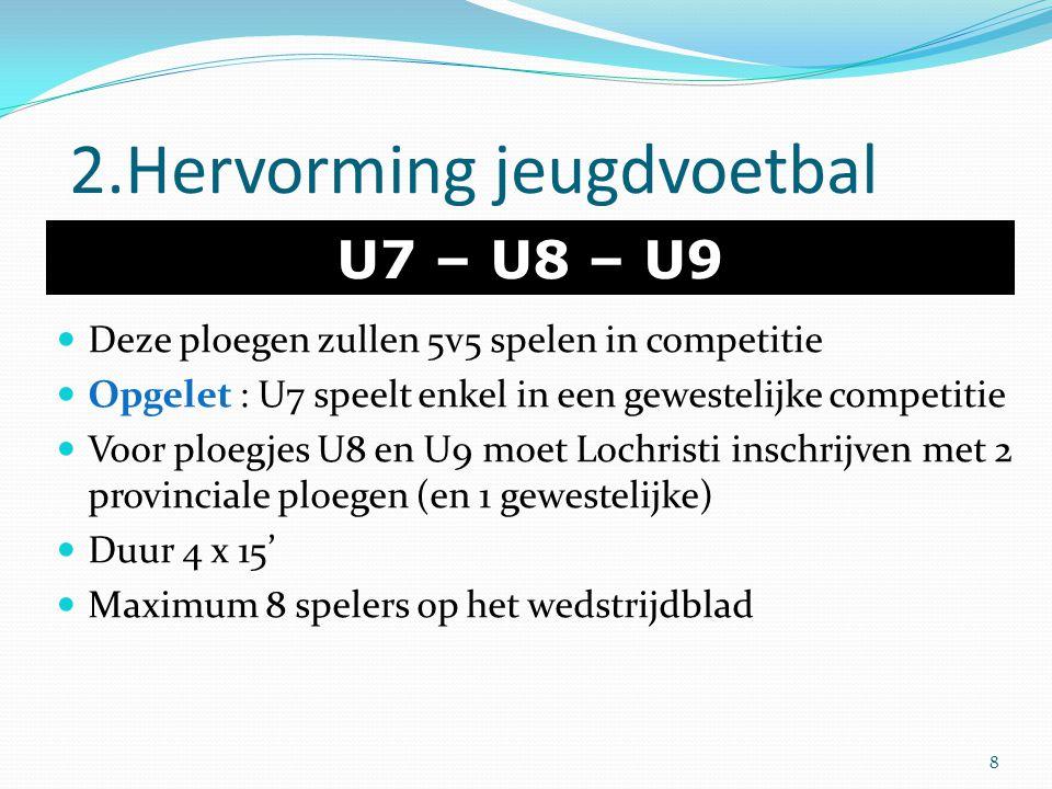 2.Hervorming jeugdvoetbal U7 – U8 – U9 Deze ploegen zullen 5v5 spelen in competitie Opgelet : U7 speelt enkel in een gewestelijke competitie Voor ploe