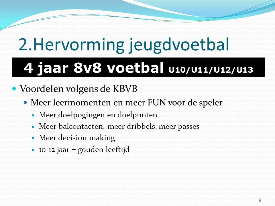 2.Hervorming jeugdvoetbal 4 jaar 8v8 voetbal U10/U11/U12/U13 Voordelen volgens de KBVB Meer leermomenten en meer FUN voor de speler Meer doelpogingen