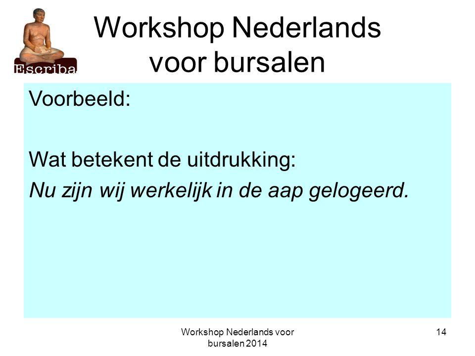 Workshop Nederlands voor bursalen 2014 14 Workshop Nederlands voor bursalen Voorbeeld: Wat betekent de uitdrukking: Nu zijn wij werkelijk in de aap ge