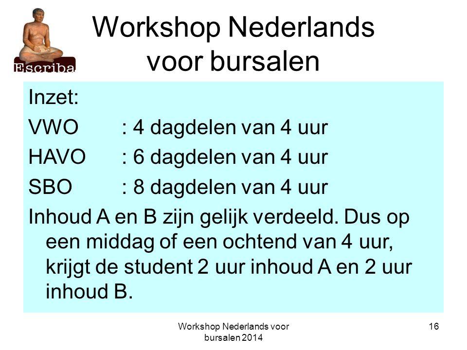 Workshop Nederlands voor bursalen 2014 16 Workshop Nederlands voor bursalen Inzet: VWO: 4 dagdelen van 4 uur HAVO: 6 dagdelen van 4 uur SBO: 8 dagdele