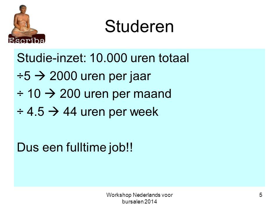 Workshop Nederlands voor bursalen 2014 6 Studeren 60% lezen en schrijven (inclusief denken) 30% luisteren en spreken 10% doen In totaal: 6.000 uren lezen en schrijven (denken) 3.000 uren luisteren en spreken 1.000 uren doen
