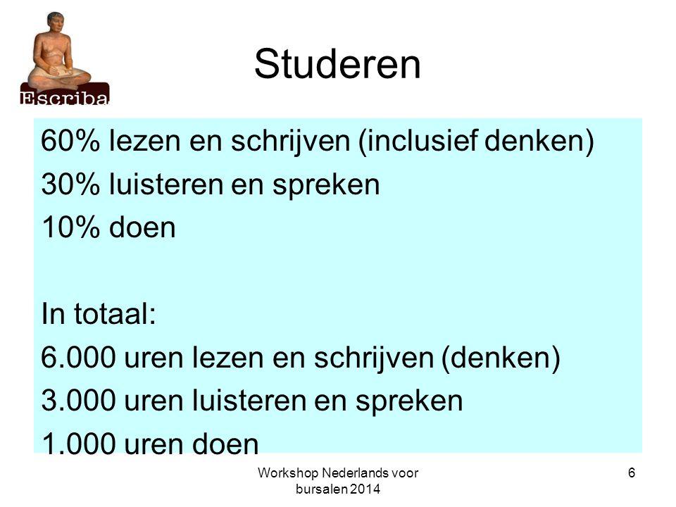 Workshop Nederlands voor bursalen 2014 7 Studeren Conclusie: Taalbeheersing en taalvaardigheid zijn hééééél belangrijk.