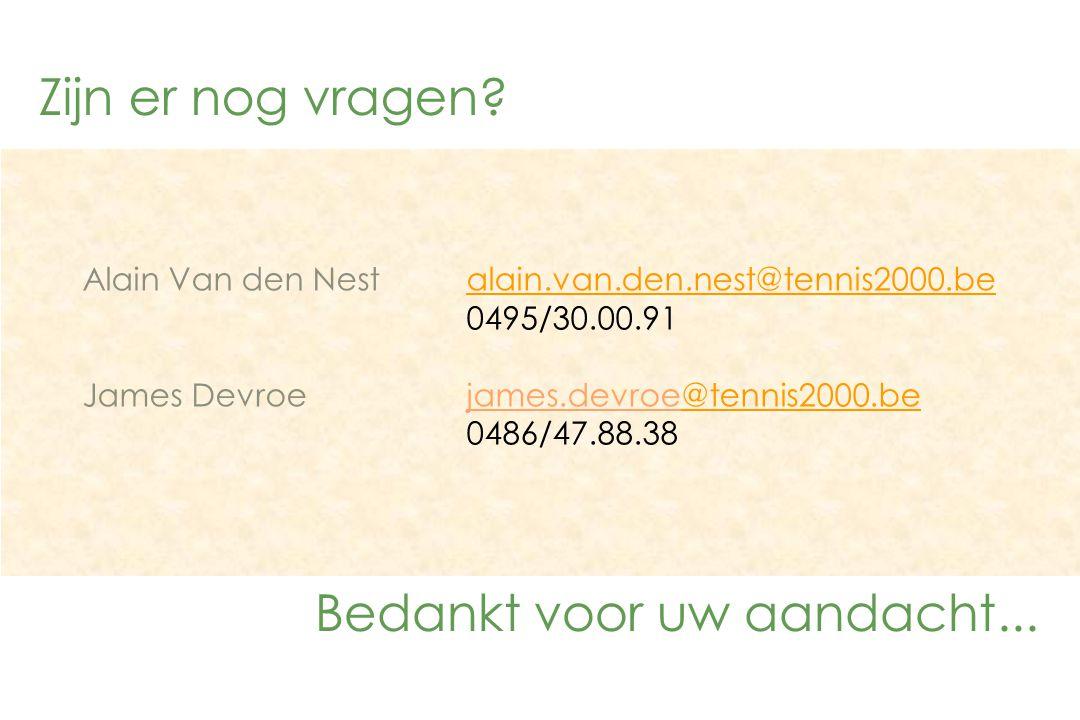 Zijn er nog vragen? Bedankt voor uw aandacht... Alain Van den Nestalain.van.den.nest@tennis2000.bealain.van.den.nest@tennis2000.be 0495/30.00.91 James