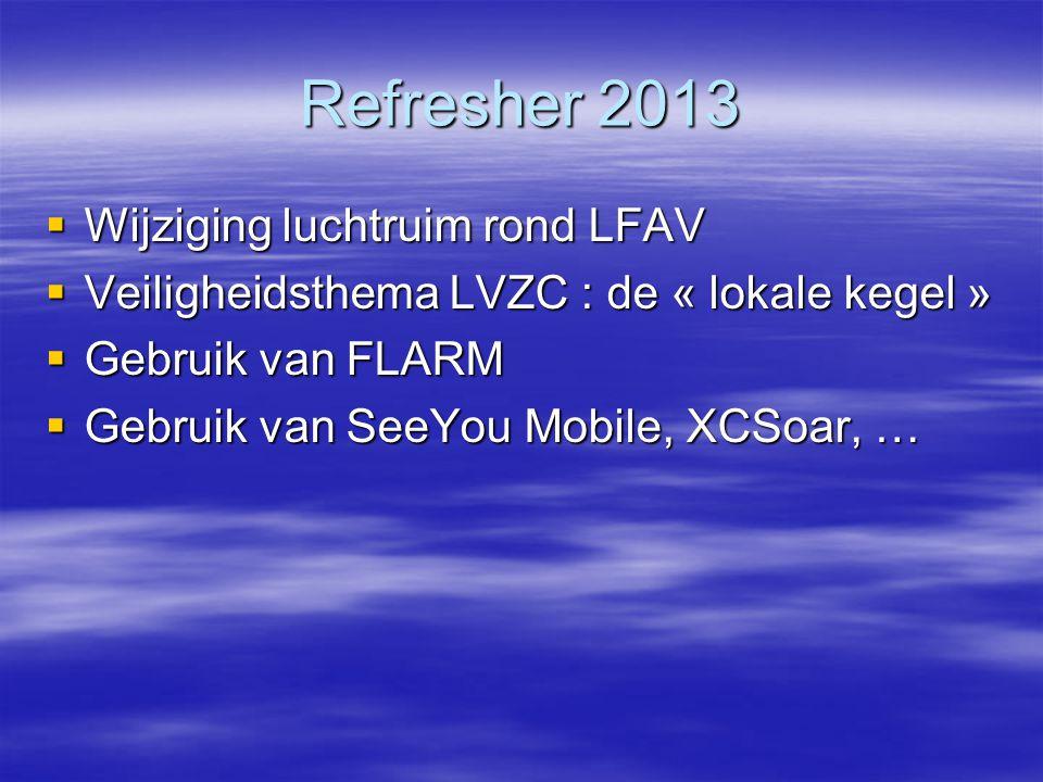 Refresher 2013  Wijziging luchtruim rond LFAV  Veiligheidsthema LVZC : de « lokale kegel »  Gebruik van FLARM  Gebruik van SeeYou Mobile, XCSoar, …