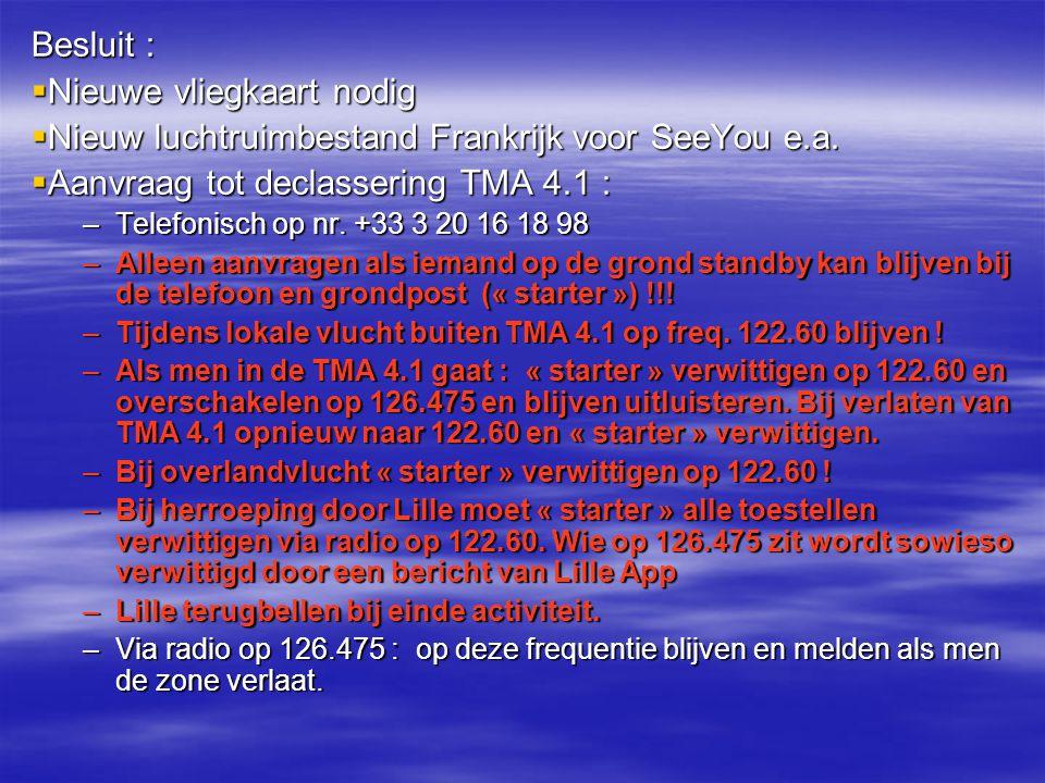 Besluit :  Nieuwe vliegkaart nodig  Nieuw luchtruimbestand Frankrijk voor SeeYou e.a.