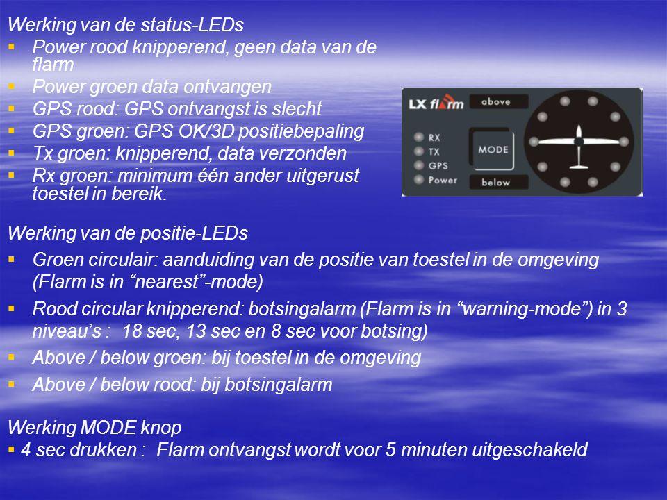 Werking van de status-LEDs   Power rood knipperend, geen data van de flarm   Power groen data ontvangen   GPS rood: GPS ontvangst is slecht   GPS groen: GPS OK/3D positiebepaling   Tx groen: knipperend, data verzonden   Rx groen: minimum één ander uitgerust toestel in bereik.