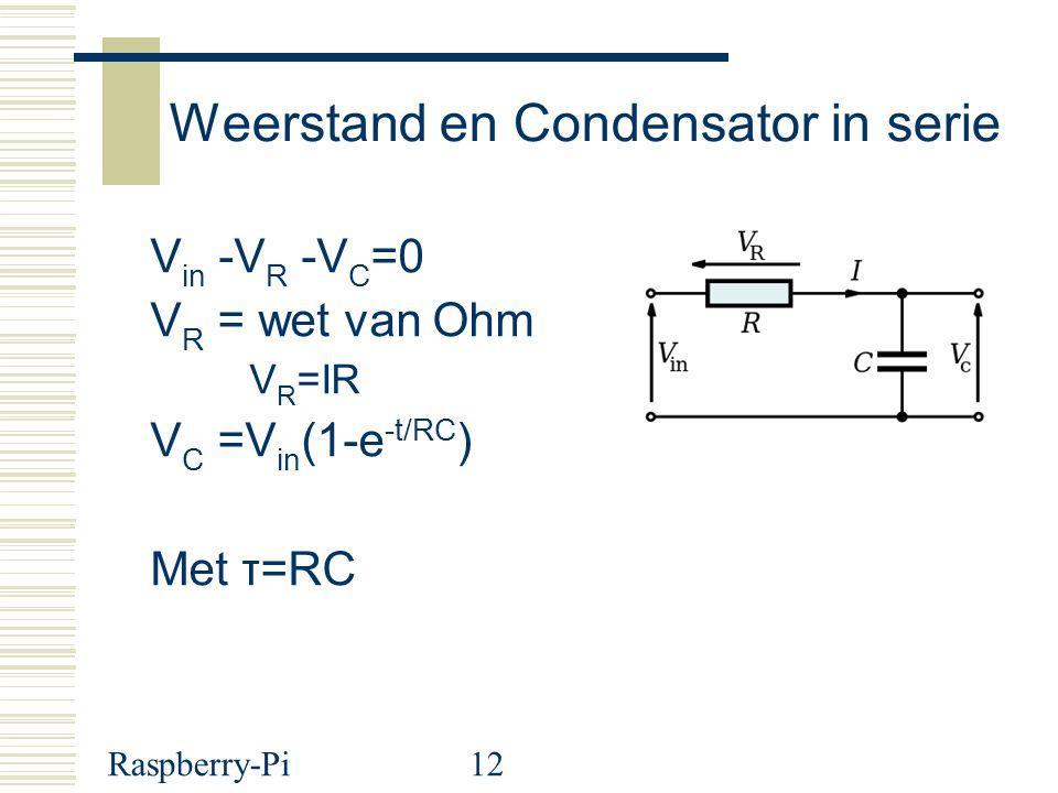Raspberry-Pi12 Weerstand en Condensator in serie V in -V R -V C =0 V R = wet van Ohm V R =IR V C =V in (1-e -t/RC ) Met τ=RC