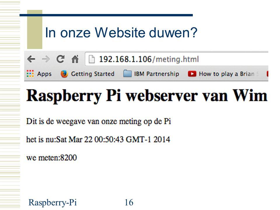 Raspberry-Pi16 In onze Website duwen?