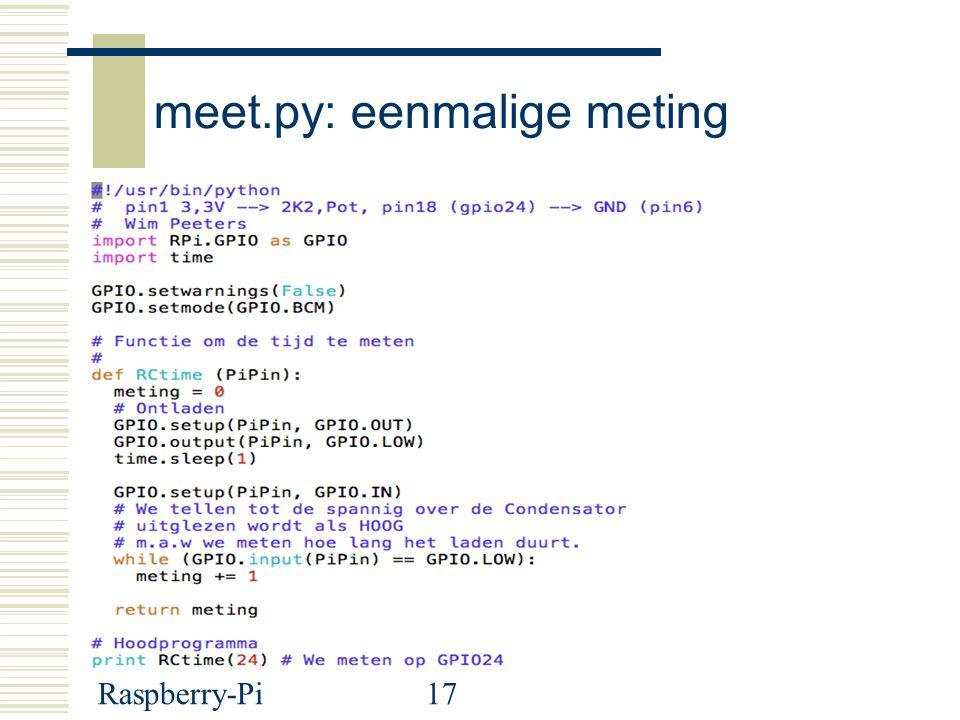 Raspberry-Pi17 meet.py: eenmalige meting