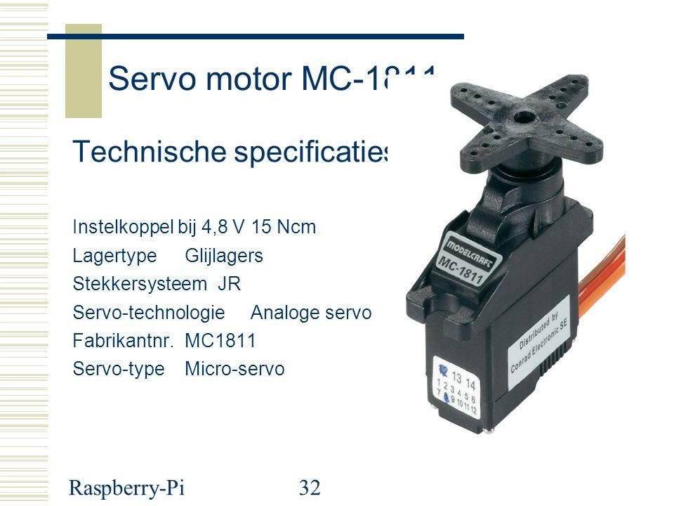 Raspberry-Pi32 Servo motor MC-1811 Technische specificaties Instelkoppel bij 4,8 V 15 Ncm Lagertype Glijlagers Stekkersysteem JR Servo-technologie Ana