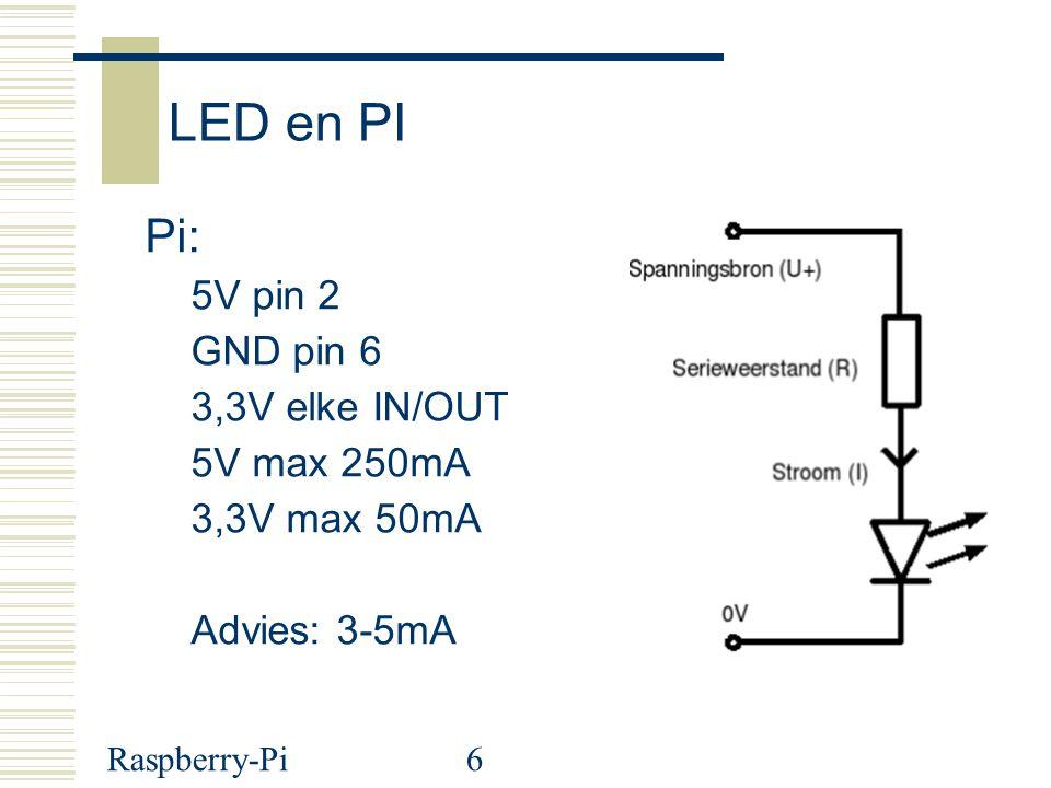 Raspberry-Pi27 LDR: hoe meer licht hoe kleiner de weerstand In onze schakeling < 500: veel licht >1000: weining licht