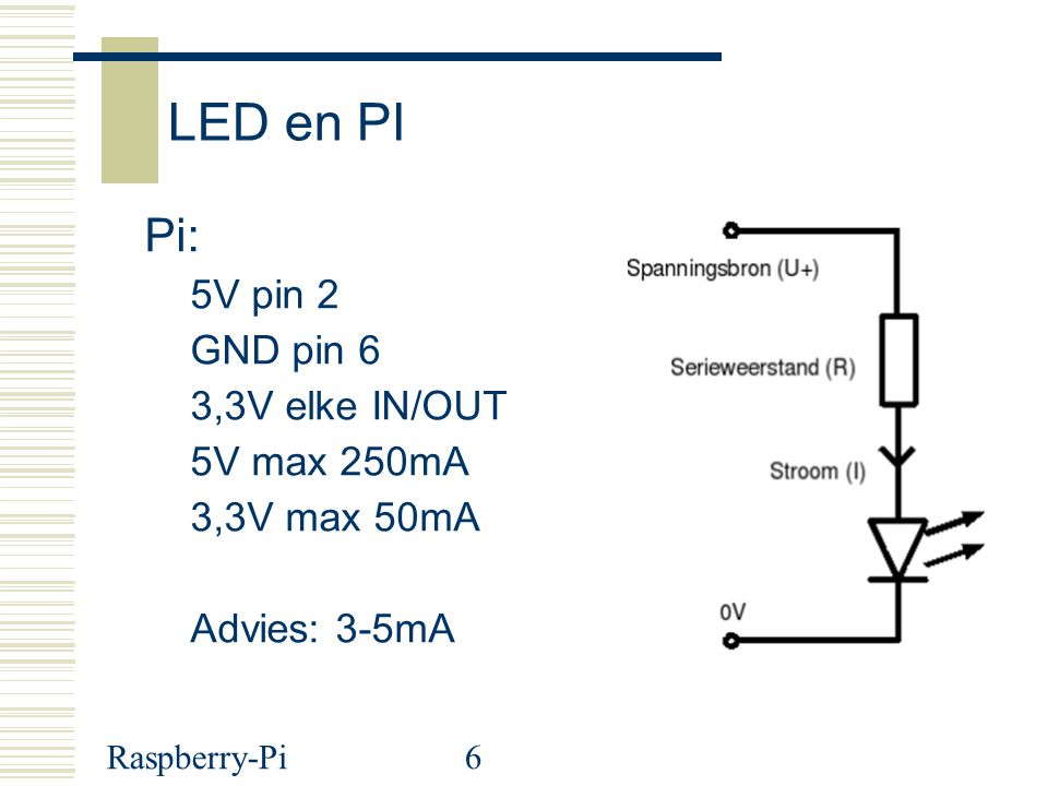 Raspberry-Pi37 #!/usr/bin/python # # pin1 3,3V --> 2K2,LDR 48k, pin18 (gpio24) --> GND (pin6) # pin2 5V --> Servo # pin6 (gpio18) --> R 470 --> LED --> GND (pin6) # pin22 (gpio25) --> R 1K --> signal servo # Wim Peeters import RPi.GPIO as GPIO import time GPIO.setwarnings(False) GPIO.setmode(GPIO.BCM) servopin = 25 GPIO.setup(servopin, GPIO.OUT) pwm = GPIO.PWM(servopin, 100) # pin en frequency, geeft 10ms/periode pwm.start(15) # start op 5% print Duty moet tussen 10 en 20 liggen, we starten op 15 print Duty=10% geeft pulse 1ms = hoek 0 print Duty=20% geeft pulse 2ms = hoek 180 print Duty=15% geeft pulse 1ms = hoek 90 while True: duty = int(input( Duty: )) pwm.ChangeDutyCycle(duty) # Beweeg de Servo