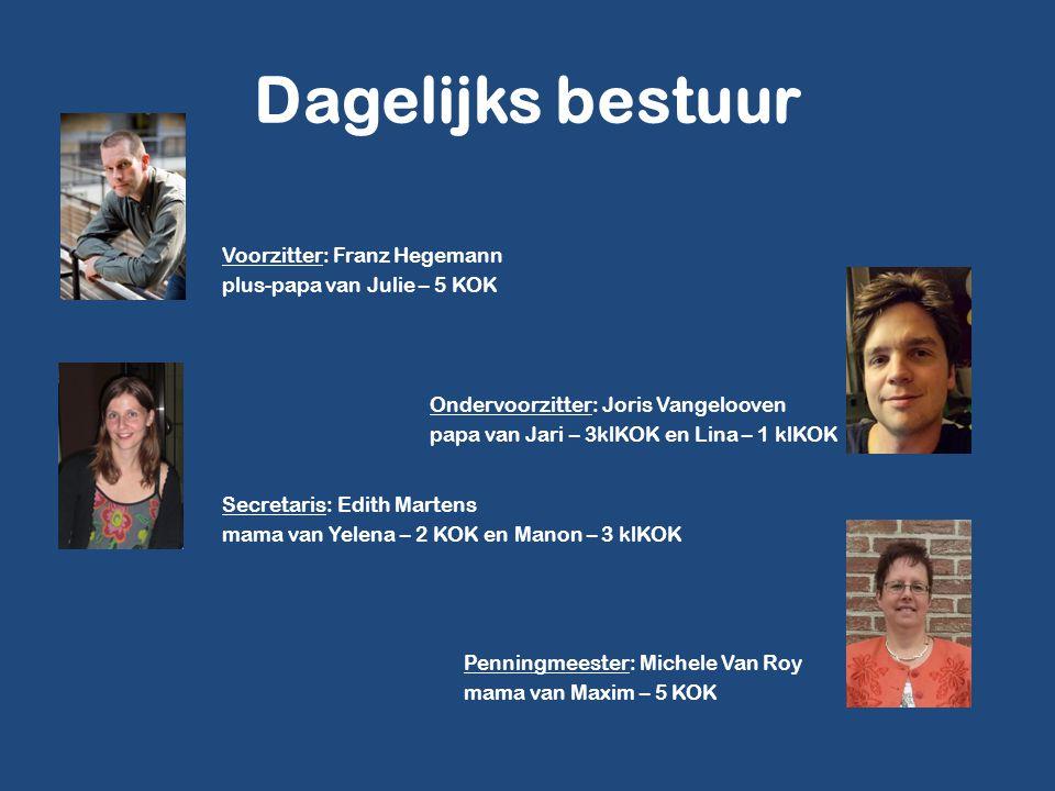 Dagelijks bestuur Voorzitter: Franz Hegemann plus-papa van Julie – 5 KOK Ondervoorzitter: Joris Vangelooven papa van Jari – 3klKOK en Lina – 1 klKOK S
