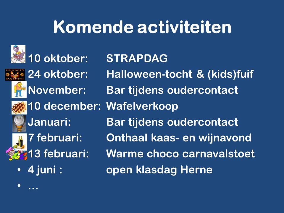 Komende activiteiten 10 oktober:STRAPDAG 24 oktober:Halloween-tocht & (kids)fuif November:Bar tijdens oudercontact 10 december:Wafelverkoop Januari:Ba
