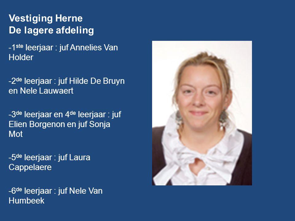 Vestiging Herne De lagere afdeling -1 ste leerjaar : juf Annelies Van Holder -2 de leerjaar : juf Hilde De Bruyn en Nele Lauwaert -3 de leerjaar en 4